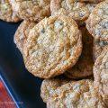 Platter of cookies; Chocolate Chip Almond Joy Cookies © 2018 Jane Bonacci, The Heritage Cook