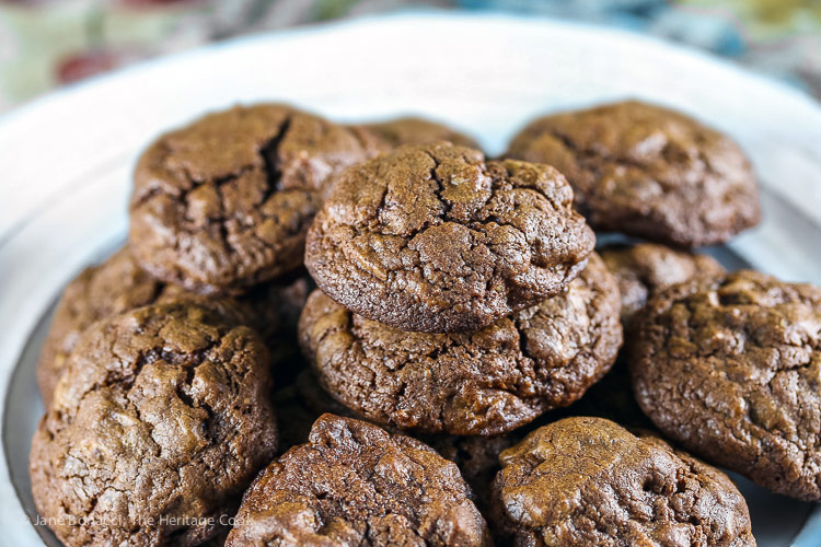 close up of cookies; Double Chocolate Drop Cookies © 2018 Jane Bonacci, The Heritage Cook