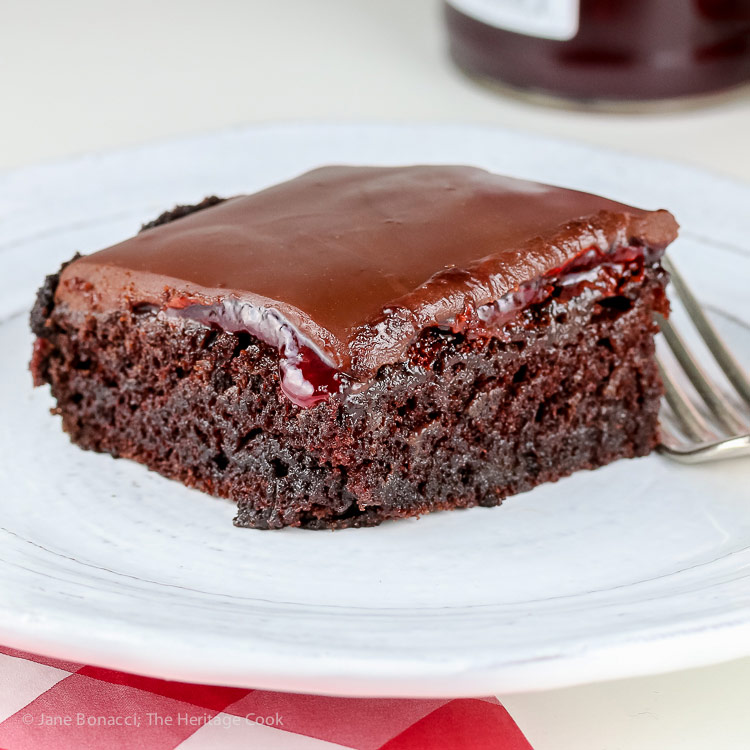 Chocolate Raspberry Sheet Cake © 2018 Jane Bonacci, The Heritage Cook. All rights reserved.