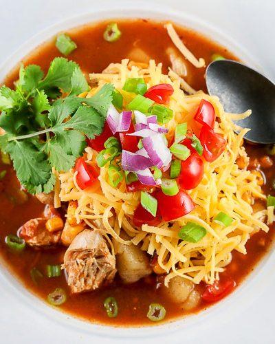Top down view of soup bowl; Instant Pot Chicken Enchilada Soup © 2018 Jane Bonacci, The Heritage Cook