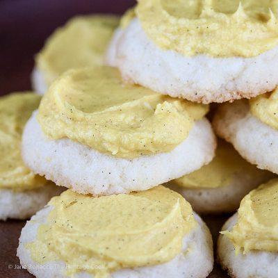 Lemon White Chocolate Sugar Cookies with Lemon Buttercream Frosting (Gluten-Free)