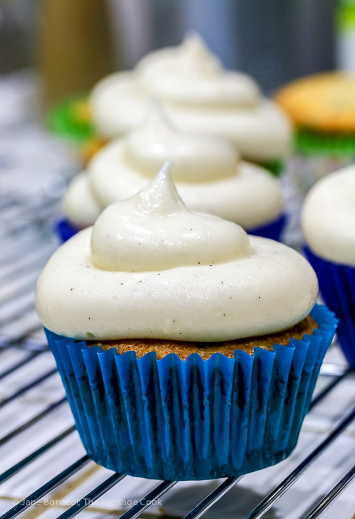 Plain frosted cupcakes; Dalmatian Cupcakes © 2018 Jane Bonacci, The Heritage Cook