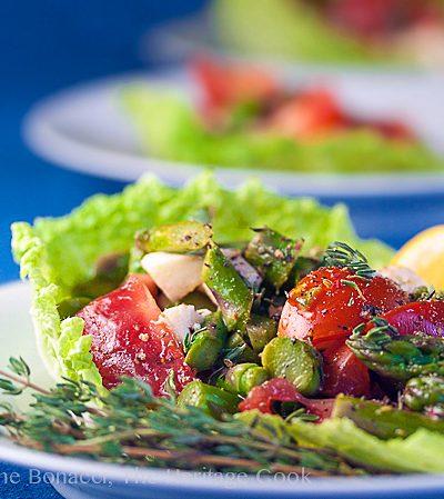 side on view of Asparagus Salad with Lemon Vinaigrette © 2018 Jane Bonacci, The Heritage Cook