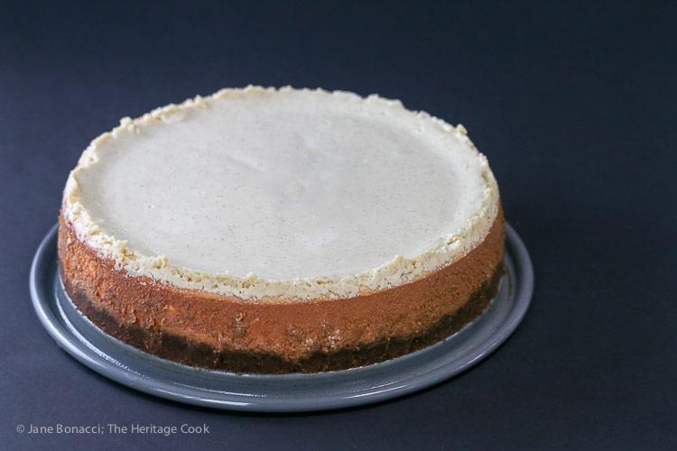 whole baked cheesecake; Coconut Cheesecake with Chocolate Sauce (Gluten-Free) © 2018 Jane Bonacci, The Heritage Cook