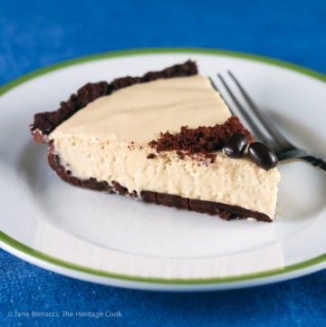 slice of pie on a plate; Kahlua Cream Pie with Chocolate Cookie Crust © 2016 Jane Bonacci, The Heritage Cook