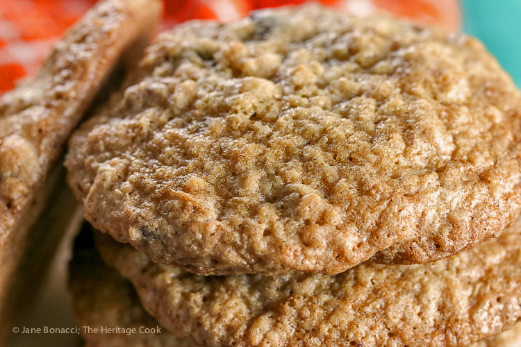 Close up of cookies; Oatmeal Chocolate Chip Pecan Cookies © 2018 Jane Bonacci, The Heritage Cook