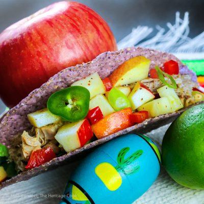 Easy Piñata Apple Salsa with Pork Tacos (Gluten-Free)