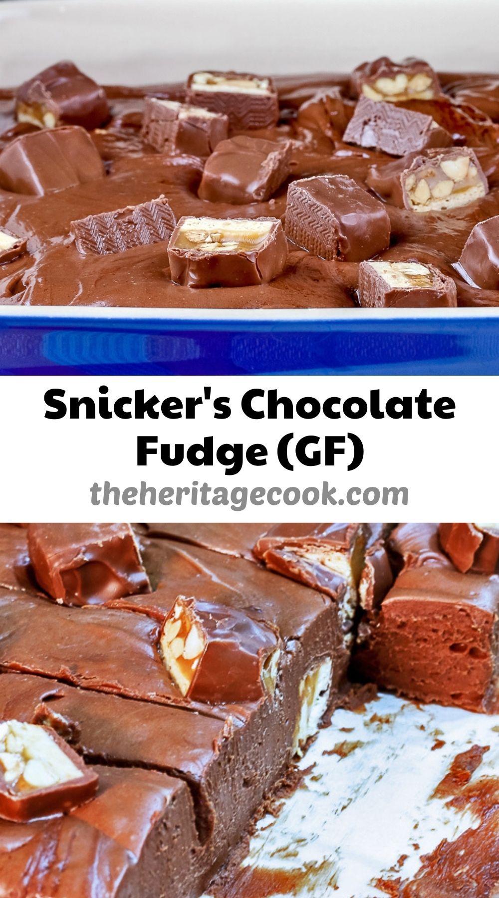 Snickers Chocolate Fudge (Gluten Free) © 2021 Jane Bonacci, The Heritage Cook
