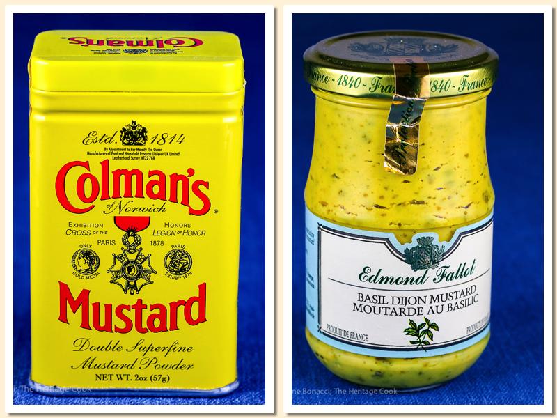 The secret ingredients, dry mustard and Dijon mustard; Chicken in Mustard Sauce © 2018 Jane Bonacci, The Heritage Cook