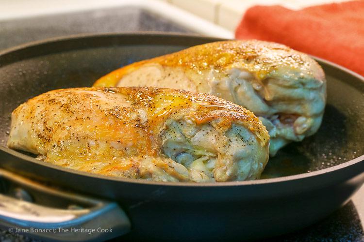 Skillet fried chicken breasts; Chicken in Mustard Sauce © 2018 Jane Bonacci, The Heritage Cook