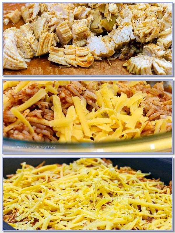 process shots; Instant Pot Chicken Enchilada Rice Casserole © 2018 Jane Bonacci, The Heritage Cook