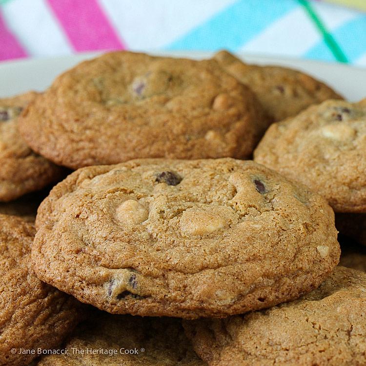 Gluten Free Black and White Chip Pecan Cookies © 2018 Jane Bonacci, The Heritage Cook