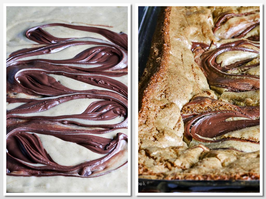 the chocolate swirl before and after baking; Chocolate Swirl Caramel Blondies (Gluten Free) © 2018 Jane Bonacci, The Heritage Cook