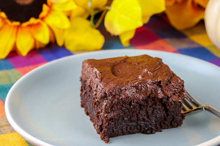 Kahlua Chocolate Cake and Chocolate Frosting © 2018 Jane Bonacci, The Heritage Cook