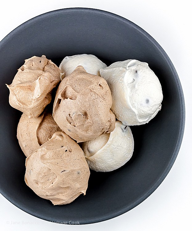 Chocolate and Vanilla Meringues with a Surprise; Top 15 Most Popular Chocolate Monday Recipes from The Heritage Cook 2018 Jane Bonacci, The Heritage Cook