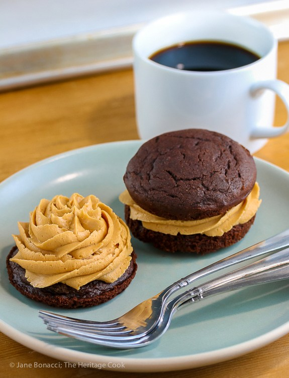 Chocolate Whoopie Pies with Creamy Peanut Butter Filling; Top 15 Most Popular Chocolate Monday Recipes from The Heritage Cook 2018 Jane Bonacci, The Heritage Cook