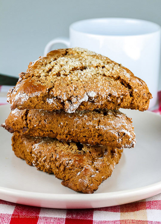 Stack of 3 scones; Gingerbread Chocolate Chip Scones © 2018 Jane Bonacci, The Heritage Cook