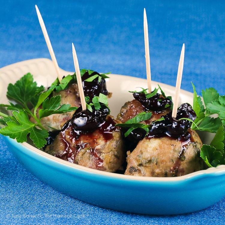 Cherry Red Wine Baked Turkey Meatballs © 2019 Jane Bonacci, The Heritage Cook
