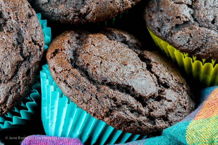 close up of a muffin; Gluten Free Chocolate Muffins © 2019 Jane Bonacci, The Heritage Cook