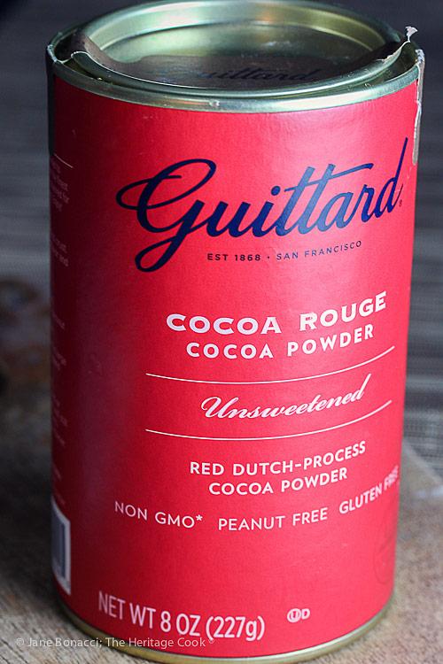 Guittard's Cocoa Rouge; Secret Ingredient Crispy Chocolate Cookies © 2019 Jane Bonacci, The Heritage Cook