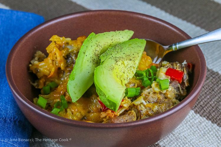 Southwestern Pork, Chile, and Potato Casserole © 2019 Jane Bonacci, The Heritage Cook