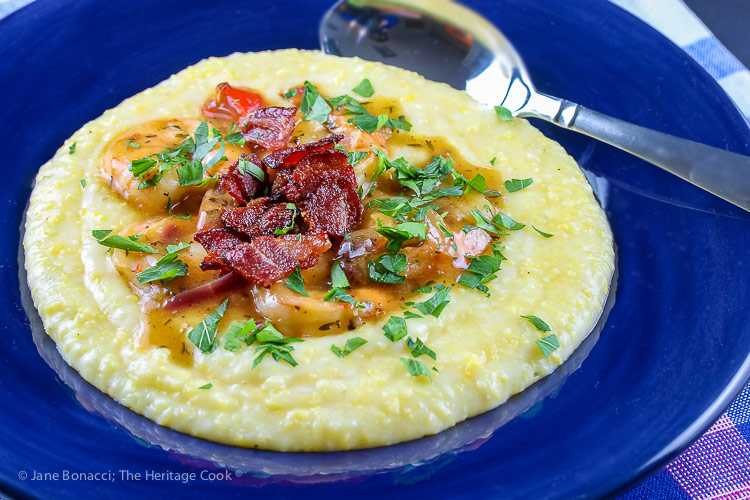 shrimp and grits with bacon; Southern Shrimp and Grits © 2019 Jane Bonacci, The Heritage Cook