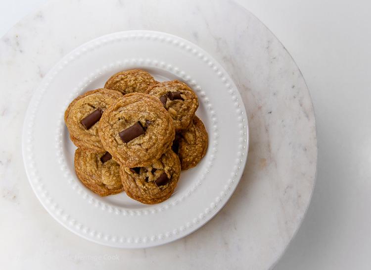 Cookies on marble; Gluten Free Chocolate Chunk Toffee Cookies © 2019 Jane Bonacci, The Heritage Cook