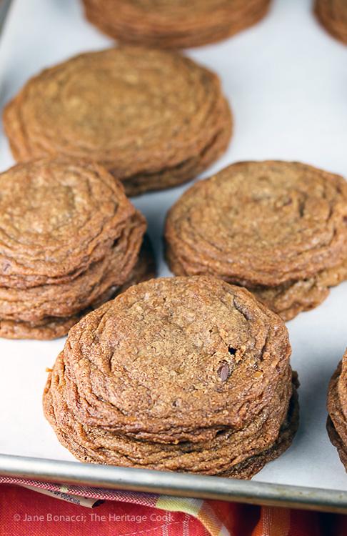 stacks of baked cookies; Chocolate Chip Cookie Sundaes (Gluten Free) © 2019 Jane Bonacci, The Heritage Cook