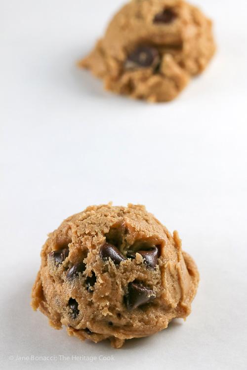 balls of cookie dough on baking sheet; Chocolate Chip Cookie Sundaes (Gluten Free) © 2019 Jane Bonacci, The Heritage Cook