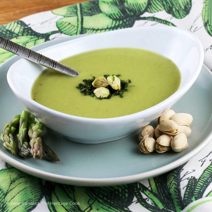Creamy Asparagus Soup (Gluten Free, Dairy Free, Vegan) © 2019 Jane Bonacci, The Heritage Cook