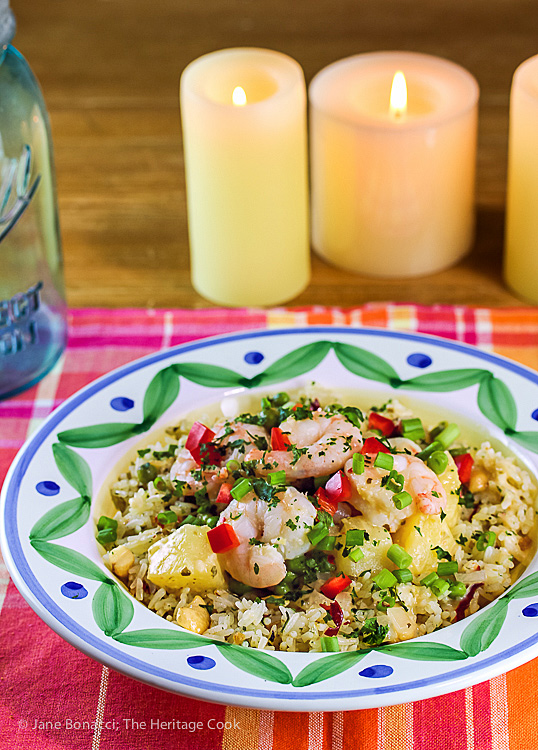 Pineapple Rice with Shrimp © 2019 Jane Bonacci, The Heritage Cook