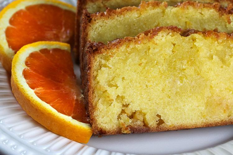 Close up of White Chocolate Orange Pound Cake © 2019 Jane Bonacci, The Heritage Cook