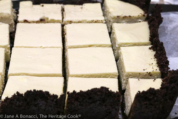 Cut up cheesecake bars; ©2019 Jane Bonacci, The Heritage Cook