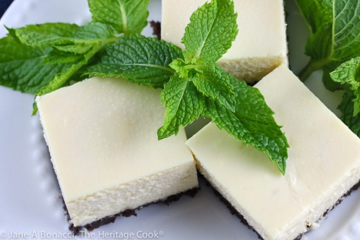 Cheesecake Bars with Chocolate Crust (Gluten Free) ©2019 Jane Bonacci, The Heritage Cook