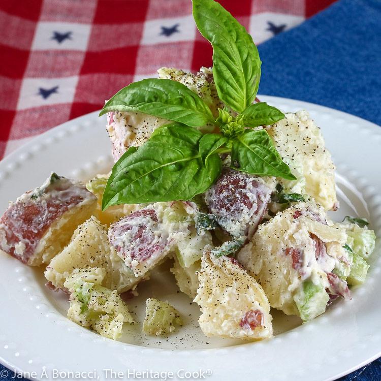 Creamy Basil Lemon Potato Salad © 2019 Jane Bonacci, The Heritage Cook