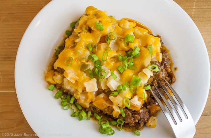 Cheesy Potato Taco Casserole; © 2019 Jane Bonacci, The Heritage Cook