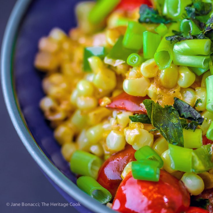 Maque Choux - Creamed Corn & Tomatoes; 2019 Jane Bonacci, The Heritage Cook