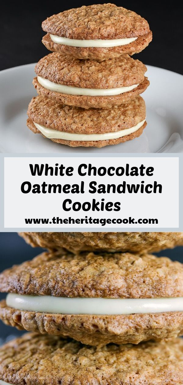Gluten Free White Chocolate Oatmeal Sandwich Cookies © 2019 Jane Bonacci, The Heritage Cook
