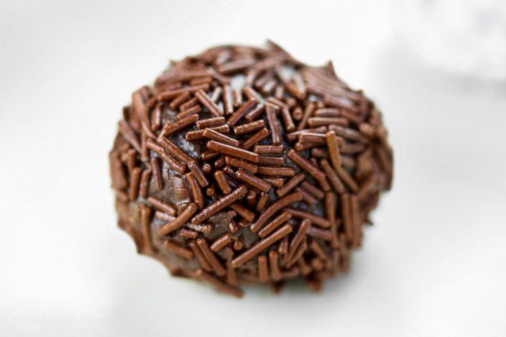 Brigadeiros - Brazilian Chocolate Candies covered in Jimmies © 2019 Jane Bonacci, The Heritage Cook