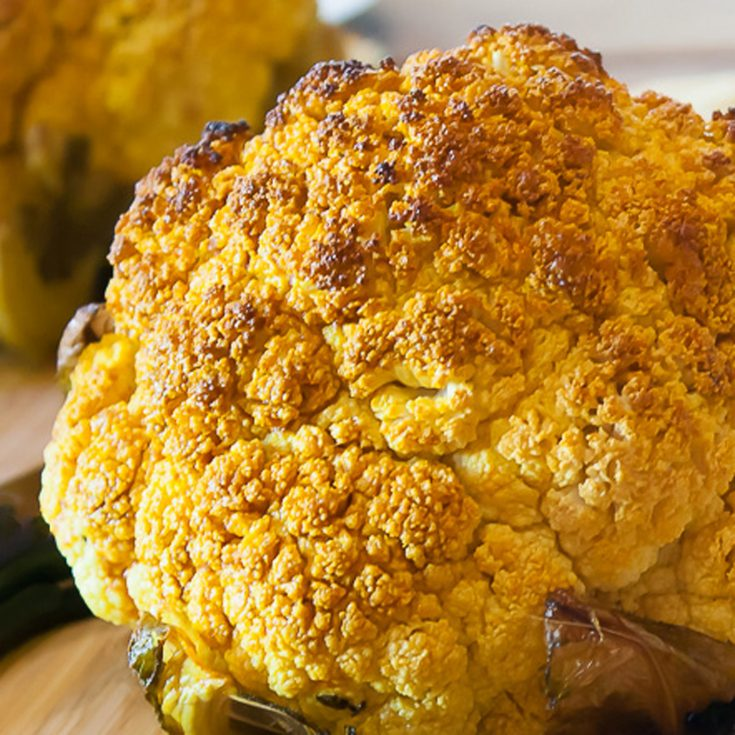 Roasted Whole Cauliflower with Sriracha Butter; 2019 Jane Bonacci, The Heritage Cook