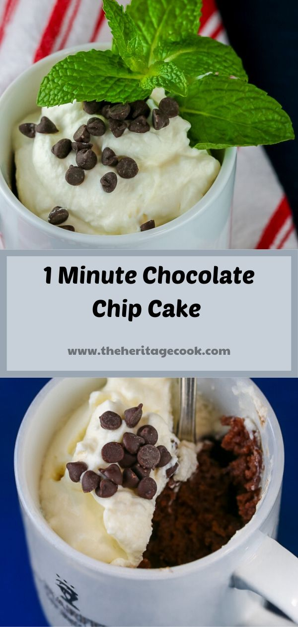 1 Minute Gluten Free Chocolate Chip Chocolate Cake in a Mug; © 2019 Jane Bonacci, The Heritage Cook