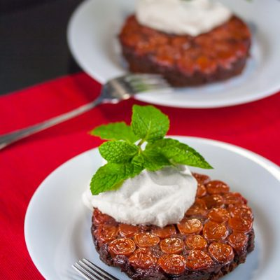 Cherry Topped Upside-Down Chocolate Cakes (Gluten-Free)