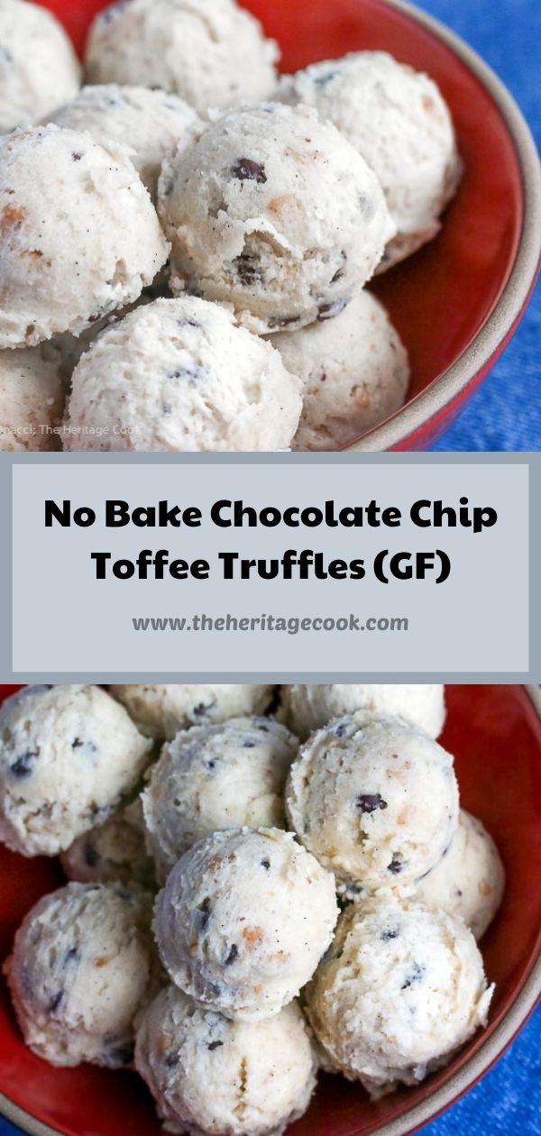 No Bake Chocolate Chip Toffee Cookie Dough Truffles (Gluten Free) © 2020 Jane Bonacci, The Heritage Cook