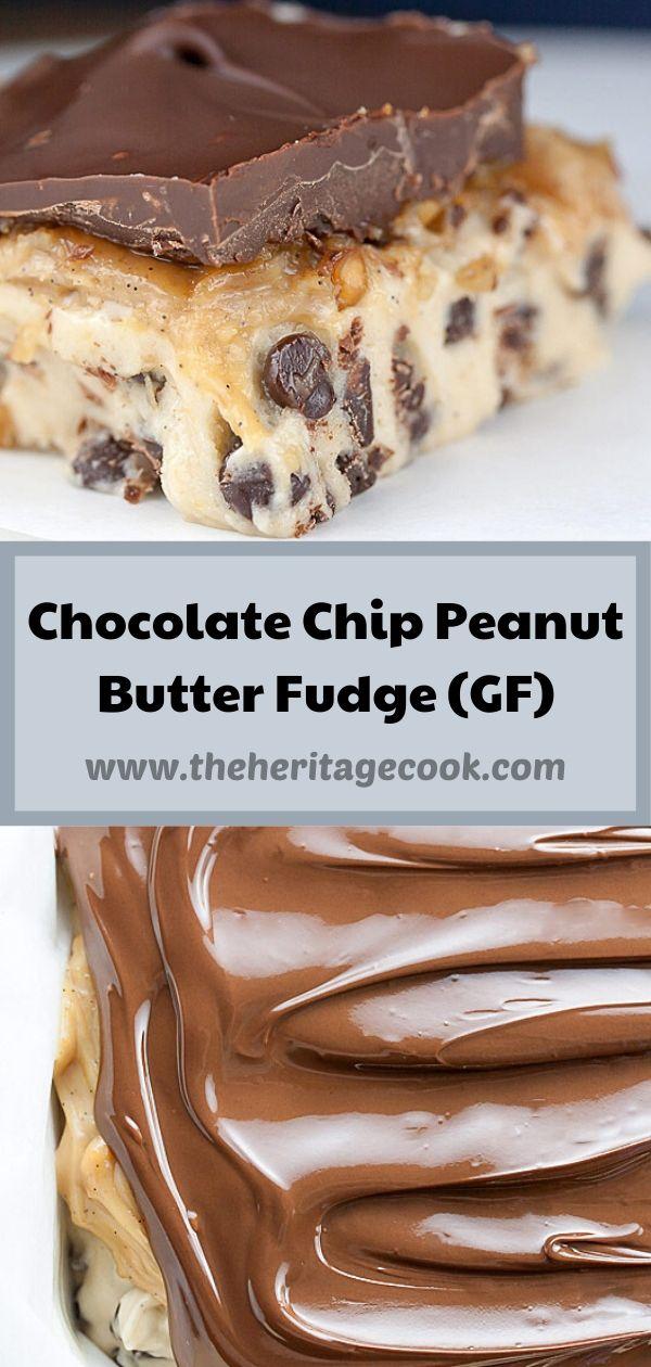 Chocolate Chip Peanut Butter Fudge Squares © 2020 Jane Bonacci, The Heritage Cook