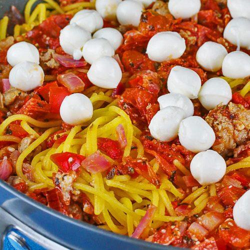 Deluxe Pizza Spaghetti © 2020 Jane Bonacci, The Heritage Cook