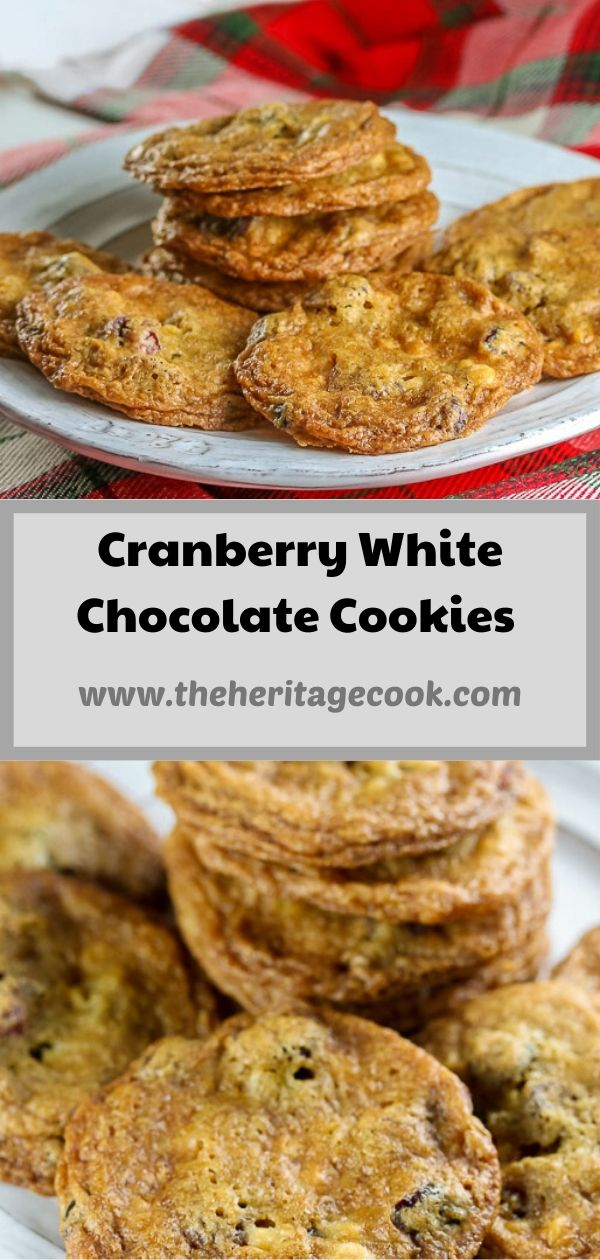 Gluten Free Cranberry White Chocolate Chip Cookies; © 2020 Jane Bonacci, The Heritage Cook