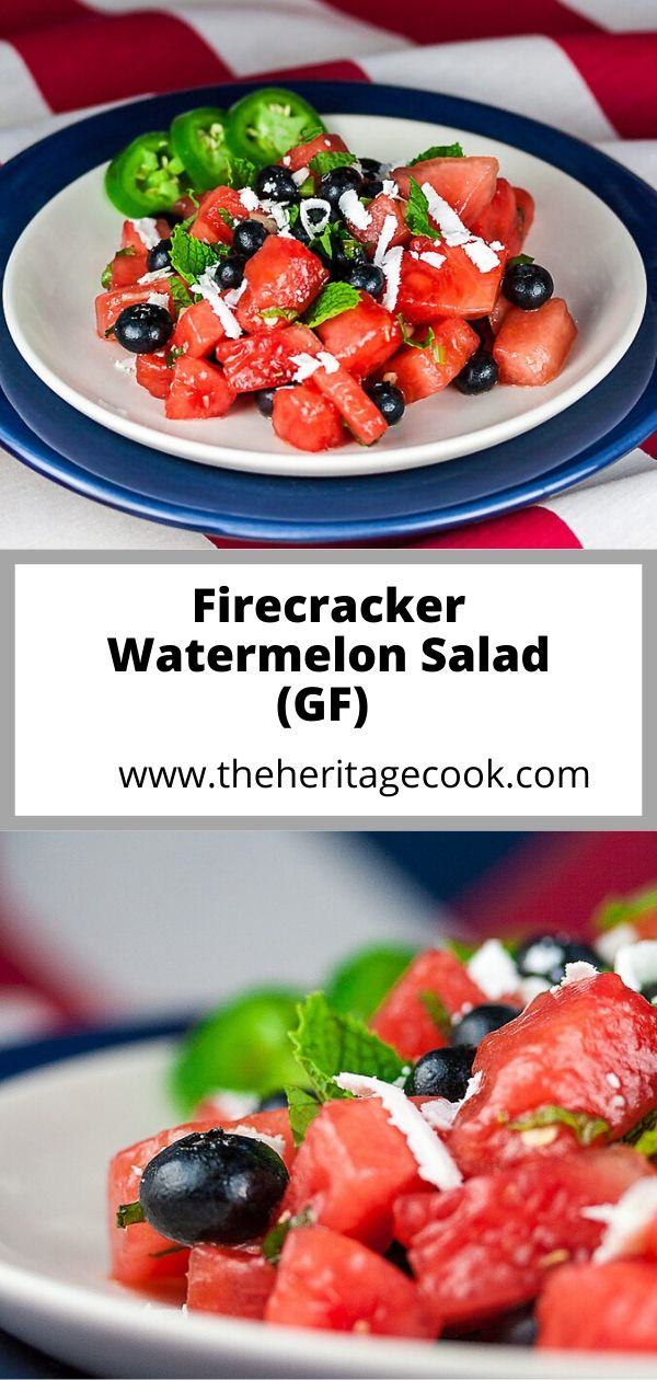 Firecracker Watermelon Salad; 2020 Jane Bonacci, The Heritage Cook