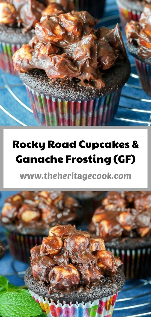 Rocky Road Chocolate Cupcakes with Ganache Frosting © 2020 Jane Bonacci, The Heritage Cook