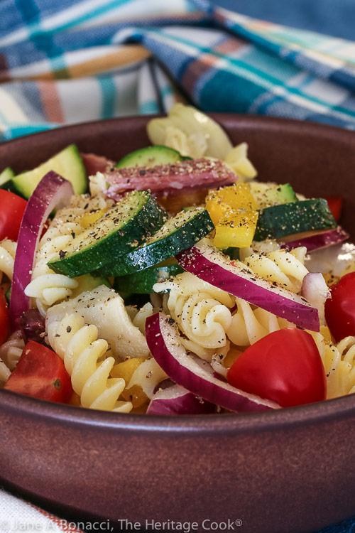 Gluten Free Antipasta Pasta Salad © 2020 Jane Bonacci, The Heritage Cook