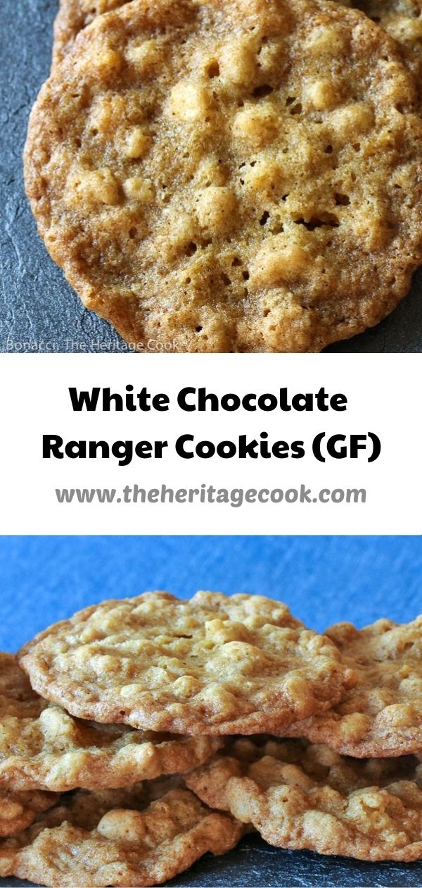 White Chocolate Ranger Cookies (Gluten Free) © 2020 Jane Bonacci, The Heritage Cook